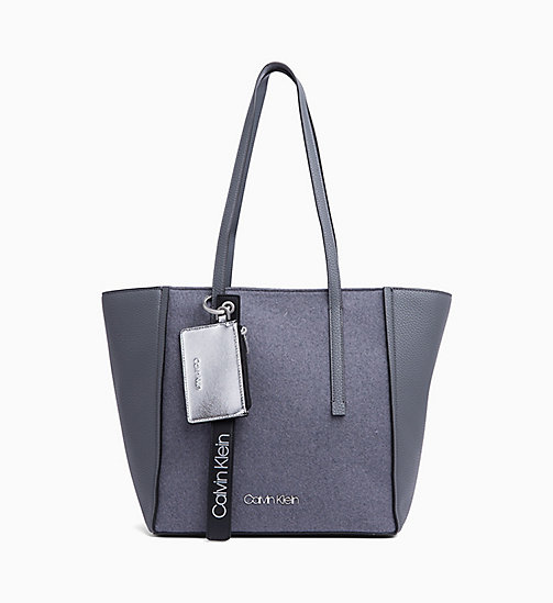 CALVIN KLEIN Medium Wool Panel Tote Bag - STEEL GREYSTONE - CALVIN KLEIN BAGS - main image