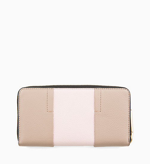 CALVINKLEIN Large Leather Zip-Around Purse - TOBACCO/PETAL - CALVIN KLEIN WALLETS & SMALL ACCESSORIES - detail image 1