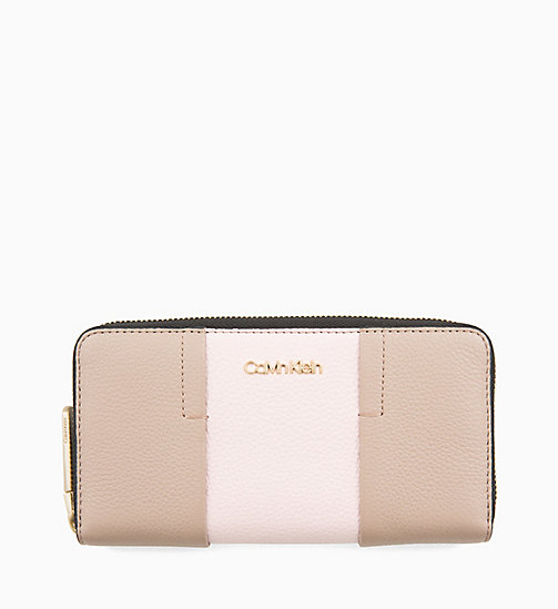 CALVINKLEIN Large Leather Zip-Around Purse - TOBACCO/PETAL - CALVIN KLEIN WALLETS & SMALL ACCESSORIES - main image