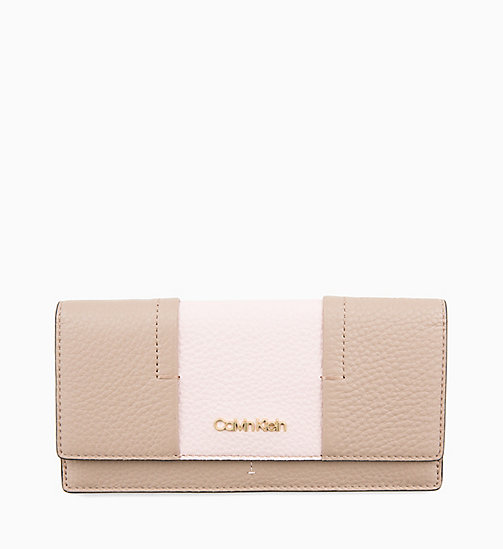 CALVINKLEIN Trifold Leather Purse - TOBACCO/PETAL - CALVIN KLEIN WALLETS & SMALL ACCESSORIES - main image