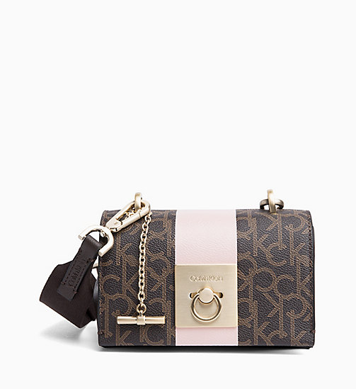 CALVINKLEIN Logo Small Flap Cross Body Bag - BROWN MONO/PETAL - CALVIN KLEIN CROSSOVER BAGS - main image