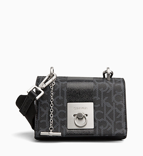 CALVINKLEIN Logo Small Flap Cross Body Bag - BLACK MONO/BLACK - CALVIN KLEIN NEW IN - main image