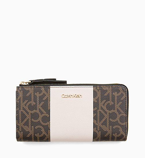 CALVINKLEIN Large Zip-Around Purse - BROWN MONO/PETAL - CALVIN KLEIN NEW IN - main image