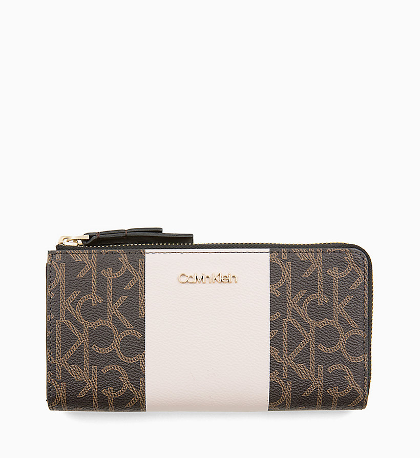 CALVINKLEIN Large Zip-Around Purse - BLACK MONO/BLACK - CALVIN KLEIN WOMEN - main image