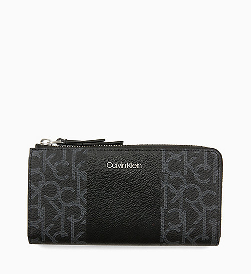 CALVINKLEIN Large Zip-Around Purse - BLACK MONO/BLACK - CALVIN KLEIN NEW IN - main image