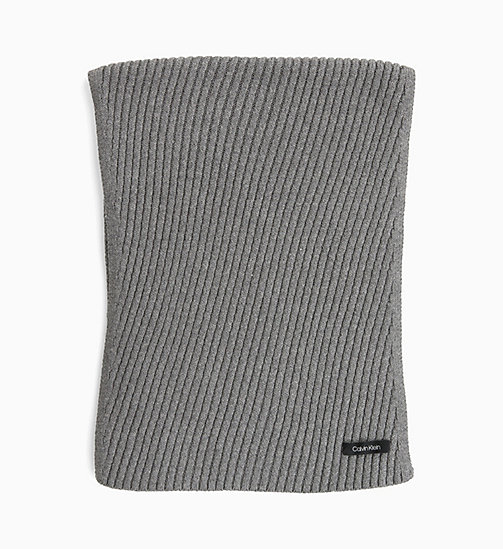 CALVIN KLEIN Diagonal Rib Scarf - MID GREY HEATHER B38 - VOL39 - CALVIN KLEIN PERFUMES & ACCESSORIES - main image