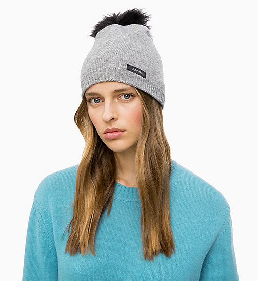 CALVINKLEIN Wool Blend Pom-Pom Beanie - MID GREY HEATHER B38 - VOL39 - CALVIN KLEIN HATS - detail image 1