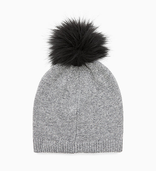 CALVIN KLEIN Wool Blend Pom-Pom Beanie - MID GREY HEATHER B38 - VOL39 - CALVIN KLEIN PERFUMES & ACCESSORIES - detail image 1