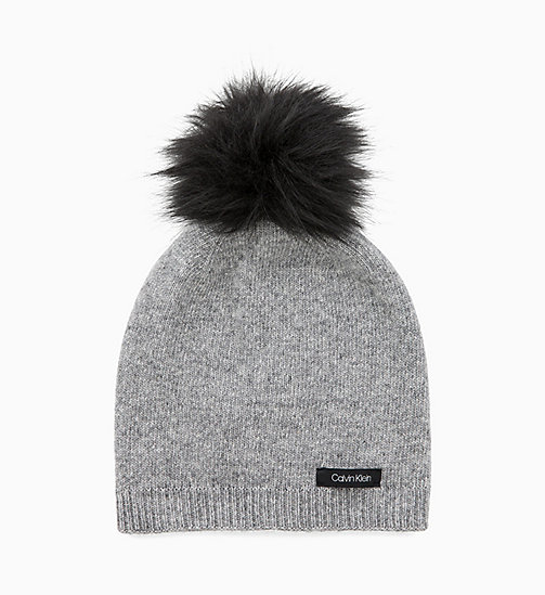 CALVIN KLEIN Wool Blend Pom-Pom Beanie - MID GREY HEATHER B38 - VOL39 - CALVIN KLEIN PERFUMES & ACCESSORIES - main image