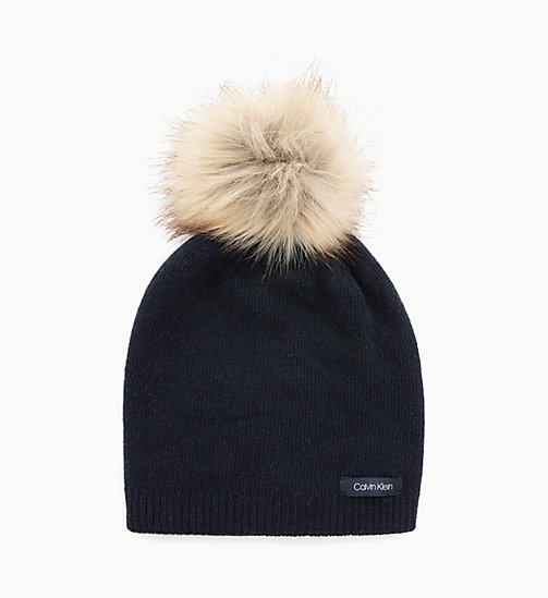 CALVINKLEIN Wool Blend Pom-Pom Beanie - DARK NAVY - CALVIN KLEIN NEW IN - detail image 1