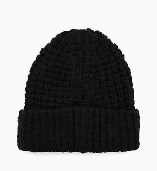CALVINKLEIN Chunky Wool Blend Beanie - BLACK - CALVIN KLEIN NEW IN - detail image 1