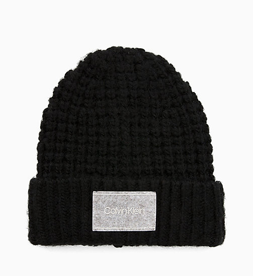CALVINKLEIN Chunky Wool Blend Beanie - BLACK - CALVIN KLEIN NEW IN - main image