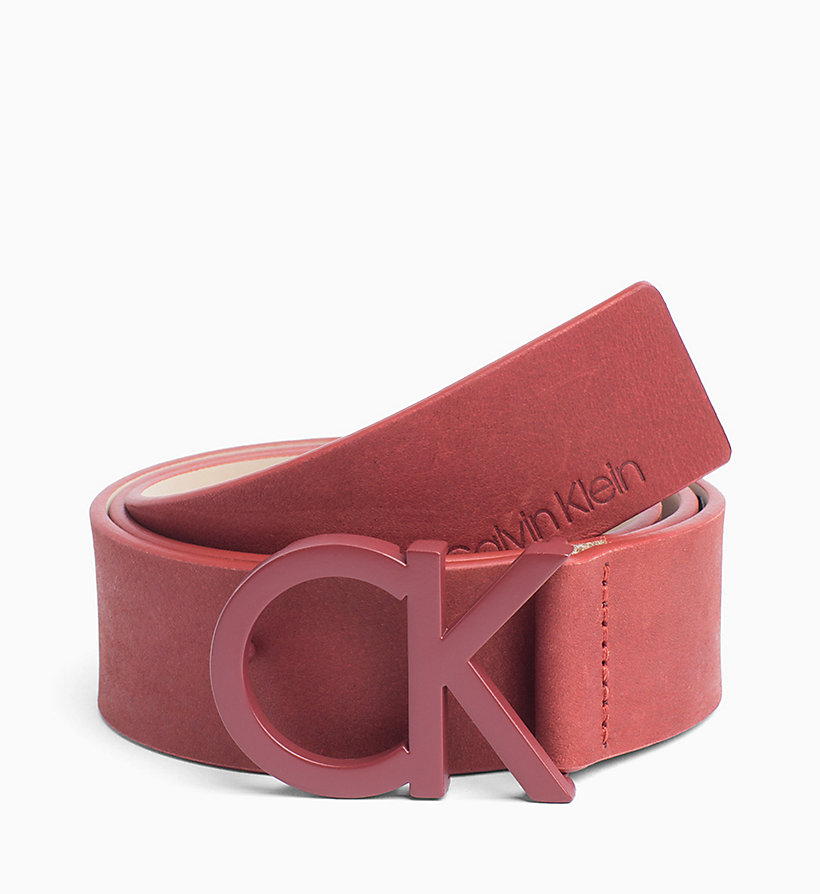CALVINKLEIN CK Leather Belt - DARK NAVY - CALVIN KLEIN WOMEN - main image