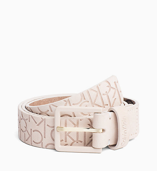 CALVINKLEIN Logo Embossed Leather Belt - WHITE - CALVIN KLEIN BELTS - main image