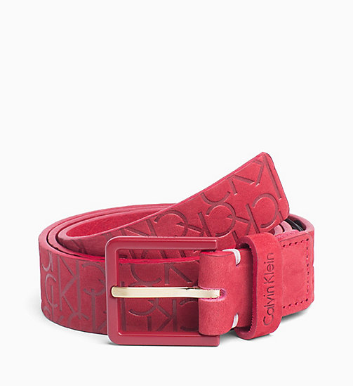 CALVINKLEIN Logo Embossed Leather Belt - RED ROCK - CALVIN KLEIN PERFUMES & ACCESSORIES - main image