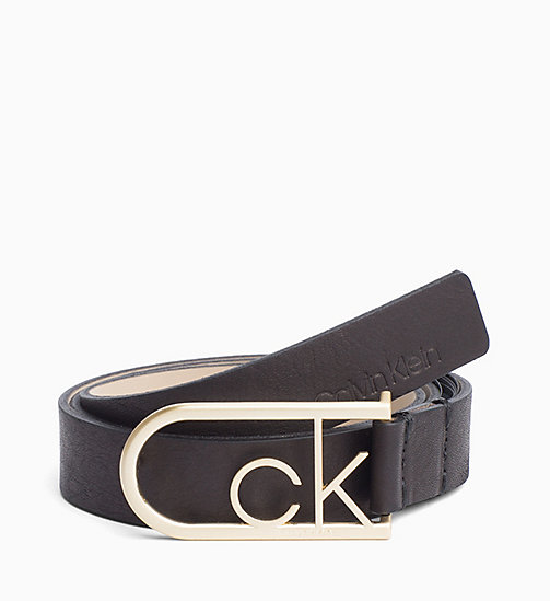 CALVIN KLEIN CK Rounded Buckle Leather Belt - BLACK - CALVIN KLEIN WOMEN - main image