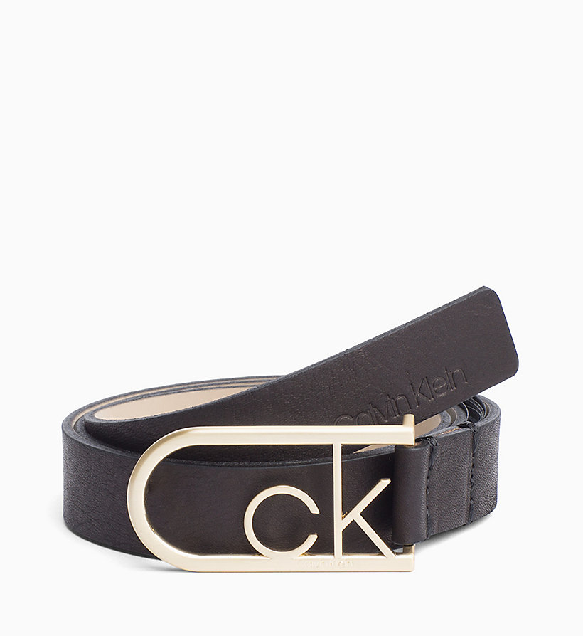 CALVINKLEIN CK Rounded Buckle Leather Belt - WHITE - CALVIN KLEIN WOMEN - main image