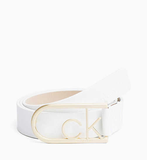 CALVIN KLEIN CK Rounded Buckle Leather Belt - WHITE - CALVIN KLEIN WOMEN - main image