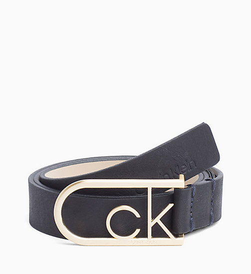 CALVINKLEIN CK Rounded Buckle Leather Belt - DARK NAVY - CALVIN KLEIN WOMEN - main image