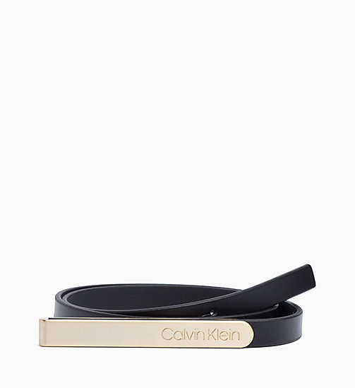 CALVINKLEIN Skinny Leather Belt - BLACK - CALVIN KLEIN BELTS - main image