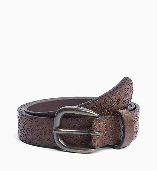 CALVIN KLEIN JEANS Floral Leather Belt - TURKISH COFFEE - CALVIN KLEIN JEANS BELTS - main image