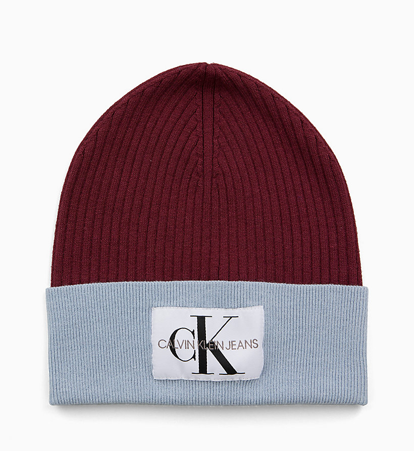 CALVIN KLEIN JEANS Colour Block Beanie - CHINTZ ROSE & PUMKIN RED - CALVIN KLEIN JEANS WOMEN - detail image 1