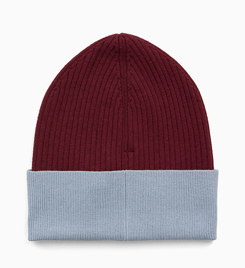 CALVIN KLEIN JEANS Colour Block Beanie - CHINTZ ROSE & PUMKIN RED - CALVIN KLEIN JEANS WOMEN - detail image 2