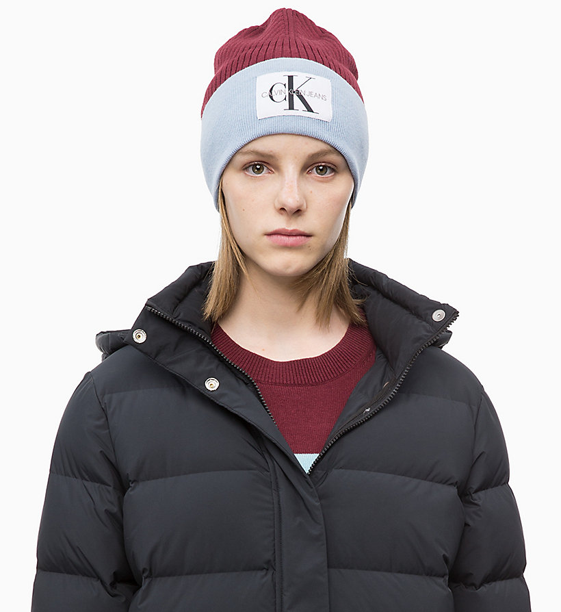 CALVIN KLEIN JEANS Colour Block Beanie - CHINTZ ROSE & PUMKIN RED - CALVIN KLEIN JEANS WOMEN - main image