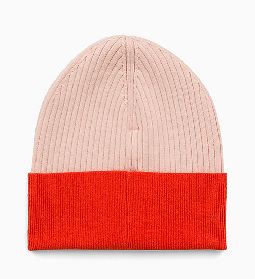 CALVIN KLEIN JEANS Colour Block Beanie - CHINTZ ROSE & PUMKIN RED - CALVIN KLEIN JEANS HATS - detail image 1