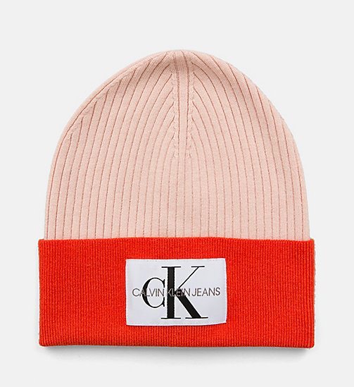 CALVIN KLEIN JEANS Colour Block Beanie - CHINTZ ROSE & PUMKIN RED - CALVIN KLEIN JEANS LOGO SHOP - main image