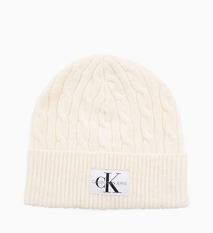 CALVIN KLEIN JEANS Wool Blend Cable Beanie - TAWNY PORT - CALVIN KLEIN JEANS WOMEN - detail image 1