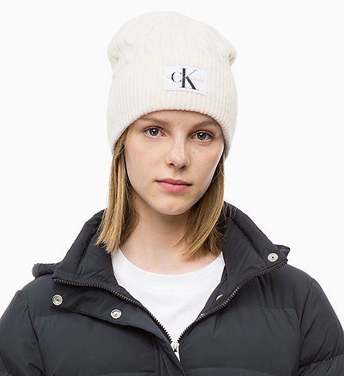 CALVIN KLEIN JEANS Wool Blend Cable Beanie - EGRET - CALVIN KLEIN JEANS HATS - main image