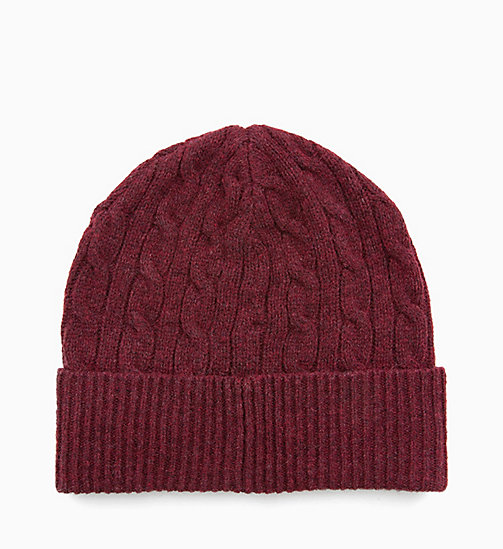 CALVIN KLEIN JEANS Wool Blend Cable Beanie - TAWNY PORT - CALVIN KLEIN JEANS PERFUMES & ACCESSORIES - detail image 1
