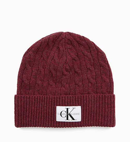 CALVIN KLEIN JEANS Wool Blend Cable Beanie - TAWNY PORT - CALVIN KLEIN JEANS HATS - main image