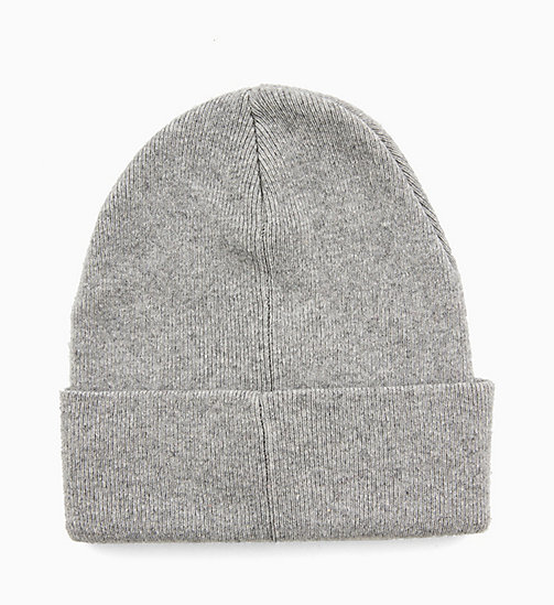 CALVIN KLEIN JEANS Wool Blend Logo Beanie - MID GREY HEATHER - CALVIN KLEIN JEANS IN THE THICK OF IT FOR HER - detail image 1
