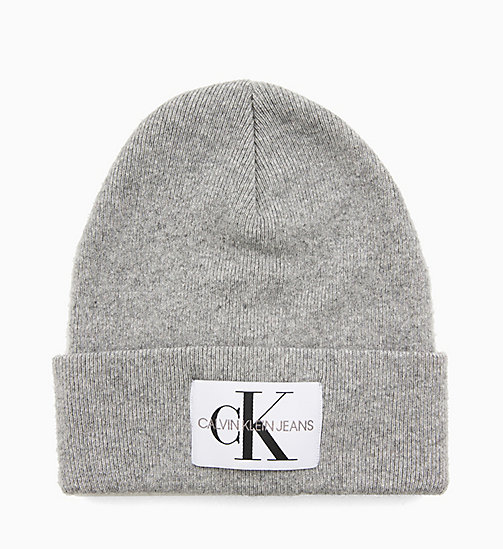 CALVIN KLEIN JEANS Wool Blend Logo Beanie - MID GREY HEATHER B38 - VOL39 - CALVIN KLEIN JEANS LOGO SHOP - main image