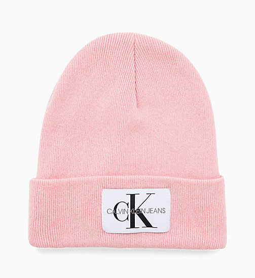 CALVIN KLEIN JEANS Wool Blend Logo Beanie - CHINTZ ROSE - CALVIN KLEIN JEANS NEW IN - main image