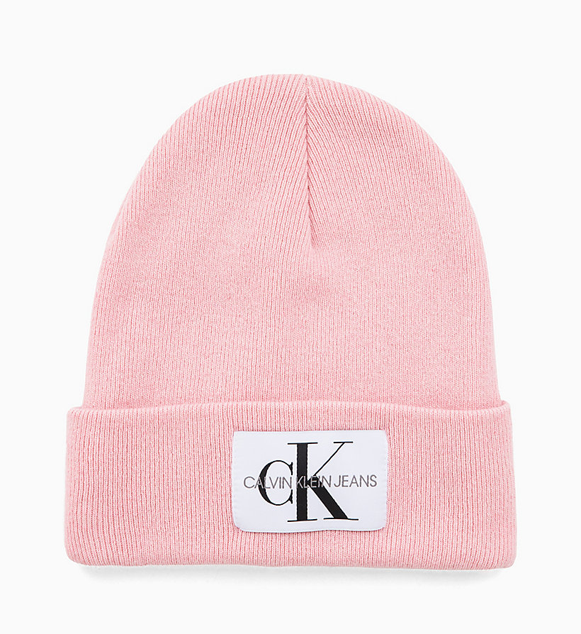 CALVIN KLEIN JEANS Wool Blend Logo Beanie - MID GREY HEATHER - CALVIN KLEIN JEANS WOMEN - main image