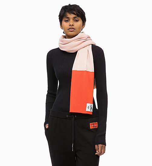 CALVIN KLEIN JEANS Colour Block Scarf - CHINTZ ROSE & PUMKIN RED - CALVIN KLEIN JEANS LOGO SHOP - detail image 1