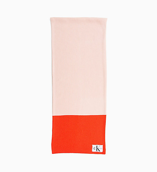CALVIN KLEIN JEANS Colour Block Scarf - CHINTZ ROSE & PUMKIN RED - CALVIN KLEIN JEANS SCARVES - main image