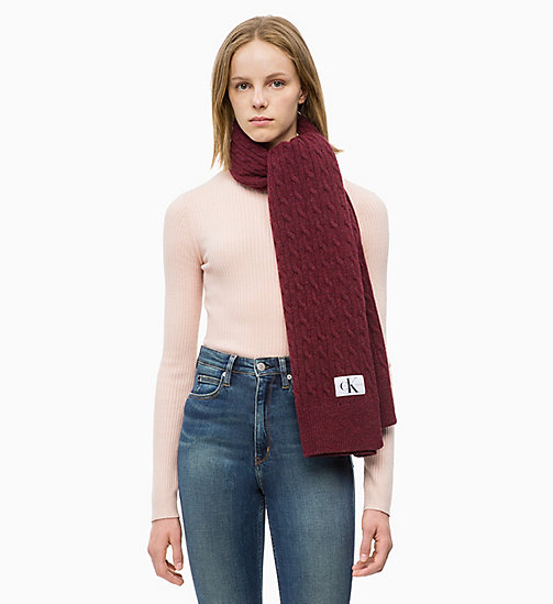CALVIN KLEIN JEANS Wool Blend Cable Scarf - TAWNY PORT - CALVIN KLEIN JEANS SCARVES - detail image 1