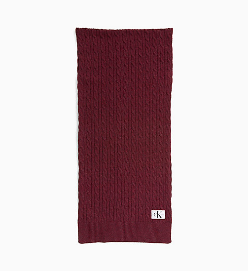 CALVIN KLEIN JEANS Wool Blend Cable Scarf - TAWNY PORT - CALVIN KLEIN JEANS SCARVES - main image