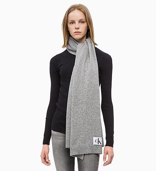 CALVIN KLEIN JEANS Wool Blend Scarf - MID GREY HEATHER B38 - VOL39 - CALVIN KLEIN JEANS IN THE THICK OF IT FOR HER - detail image 1