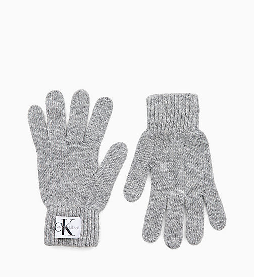 CALVIN KLEIN JEANS Wool Blend Gloves - MID GREY HEATHER B38 - VOL39 - CALVIN KLEIN JEANS LOGO SHOP - main image