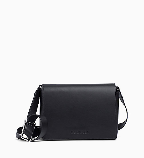 CALVIN KLEIN Medium Leather Satchel - BLACK - CALVIN KLEIN NEW IN - main image