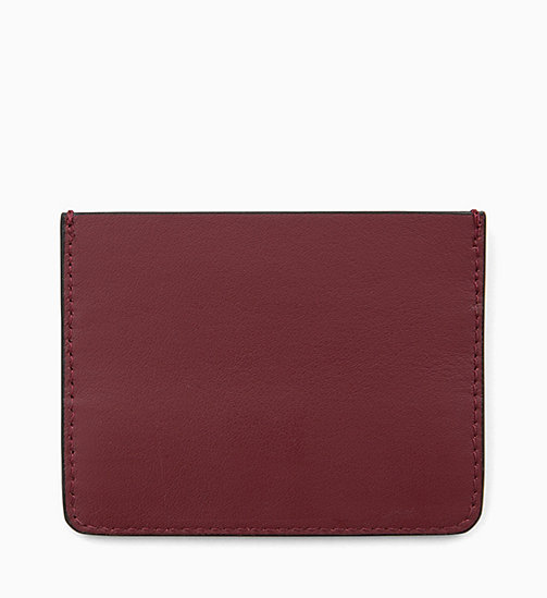 CALVIN KLEIN Leather Cardholder - BORDEAUX - CALVIN KLEIN FOR HER - detail image 1