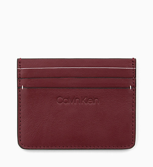 CALVIN KLEIN Leather Cardholder - BORDEAUX - CALVIN KLEIN FOR HER - main image