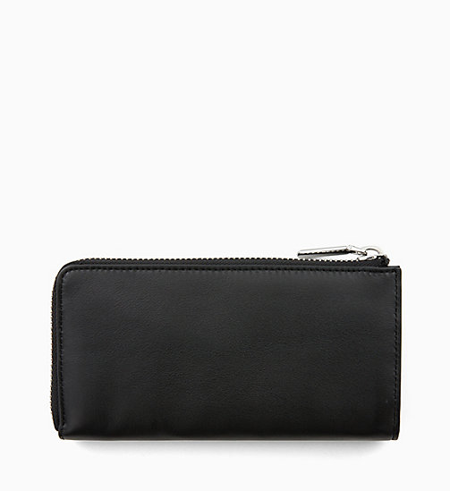 CALVINKLEIN Large Leather Zip-Around Wallet - BLACK - CALVIN KLEIN WALLETS & SMALL ACCESSORIES - detail image 1