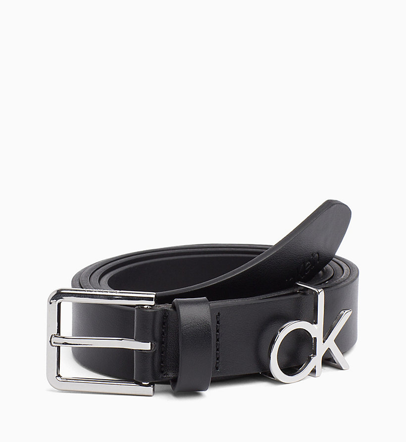 CALVIN KLEIN CK Leather Belt - SILVER - CALVIN KLEIN WOMEN - main image