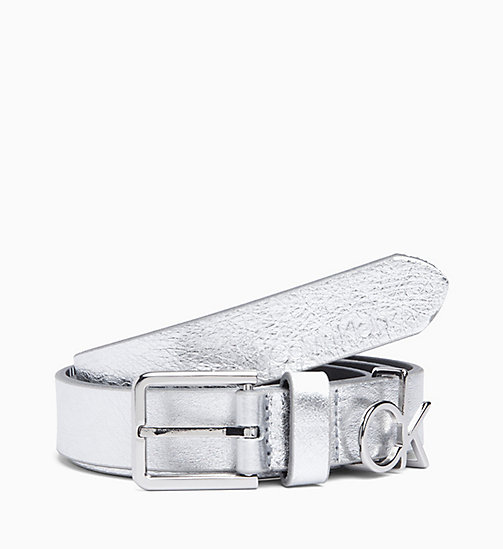 CALVIN KLEIN CK Leather Belt - SILVER - CALVIN KLEIN BELTS - main image